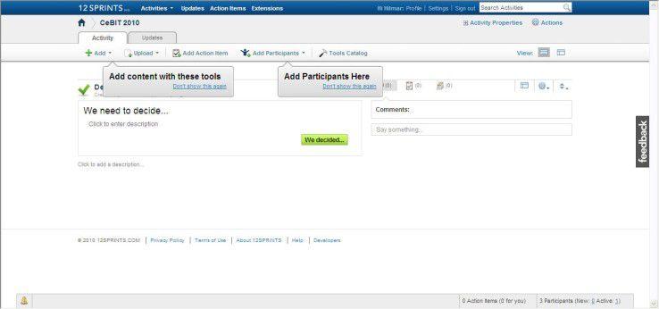 Auf 12Sprints lassen sich flexible verschiedene Inhalte einfügen und Anwender zur Mitarbeit einladen.