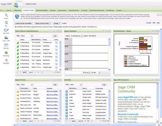 Über das Control Center sollen Anwender den Arbeitsbereich von CRM 7.0 individuell konfigurieren können.