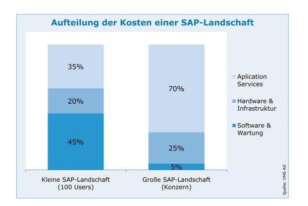 In überschaubaren Installationen machen Software und Wartung die größte Kostenposition aus. In großen SAP-Landschaften verschieben sich die Gewichte deutlich zu Lasten der Application Services.