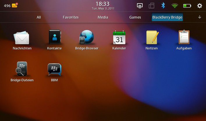 Brückenkopf: Bridge verwandelt das Playbook in einen BlackBerry-Thin-Client.