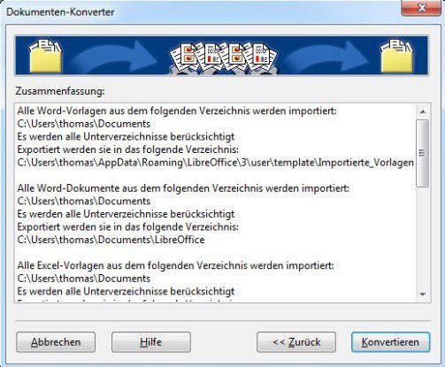Durchführen der Konvertierung in OpenOffice/LibreOffice.