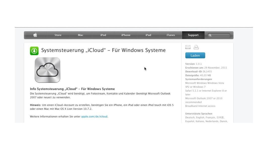 iCloud: Systemsteuerung Windows