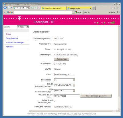 Bei diesem Screenshot stand der Telekom Speedport LTE Router in Neufinsing bei Markt Schwaben im Auto auf dem Armaturenbrett.
