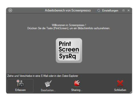 Bildschirminhalt ablichten mit Screenpresso.