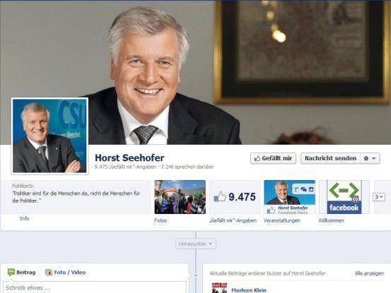 Koalitionsvertragspartner Horst Seehofer, online-affiner Facebook-Nutzer, der in seiner Heimat in Bayern bleiben wird.