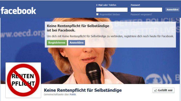 Gegner der Rentenpflicht für Selbständige haben sich via Facebook organisiert.