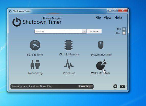 Der Shutdown Timer zeigt sofort, auf welche Ereignisse hin er ein kontrolliertes Herunterfahren eines Windows-Systems veranlassen kann.