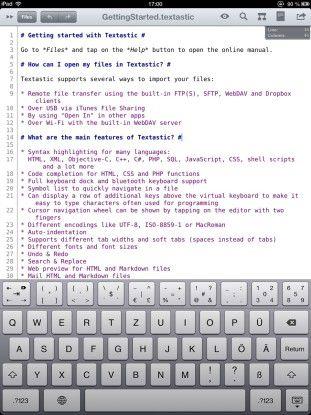 """""""Textastic"""", ein mobiler Quelltext-Editor für das iPad."""