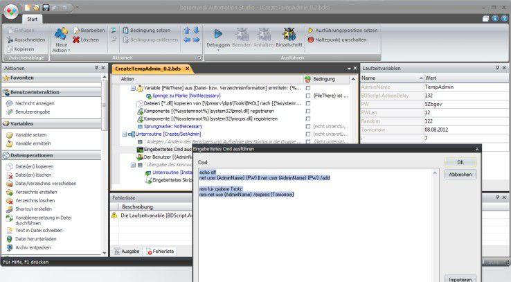 Das baramundi Automation Studio erlaubt eine Automatisierung im Rahmen der Software- und Konfigurationspaketierung.
