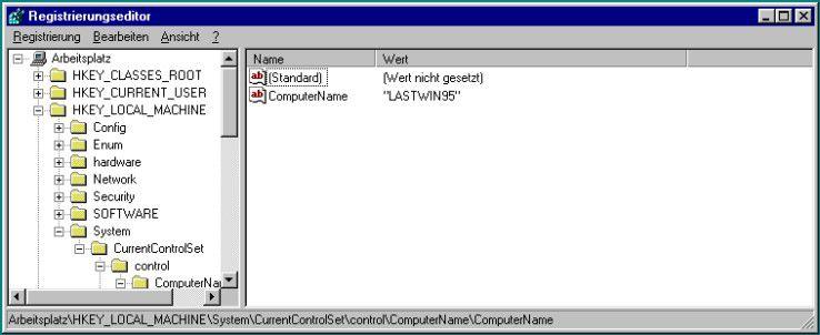 """""""Klassisches"""" Design: Der grafische Editor zur Bearbeitung der Registry aus dem Standard-Lieferumfang von Windows hat sich seit Jahren kaum verändert. Hier ist beispielsweise REGEDIT.EXE auf einem Windows 95-PC zu sehen."""