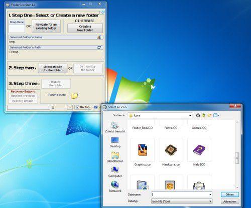 """Das Programm """"Folder Iconizer"""" stellt dem Anwender eine Sammlung verschiedener Icons zur Verfügung, mit denen er seine Ordner entsprechend ausstatten kann."""