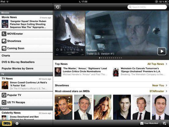 """""""IMDb"""" wartet mit einer riesigen Datenbank und einer durchdachten Navigation auf. Ein Muss für jeden Film-Fan, der alle Details über seine Lieblingsfilme wissen möchte."""