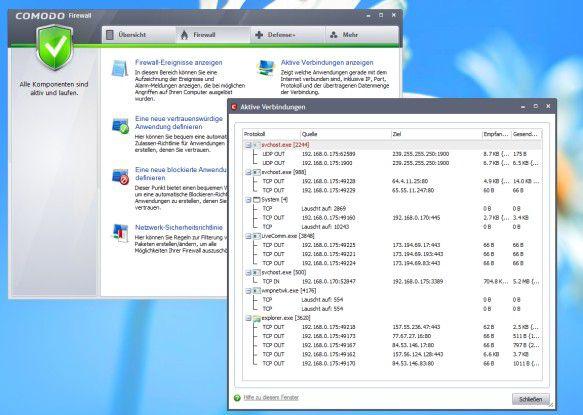 In den Menüs der Comodo-Firewall hat der Anwender die Möglichkeit, sehr detailliert in die Materie einzusteigen.