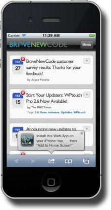 WPTouch zeigt den eigenen Blog im Stil einer nativen App an.