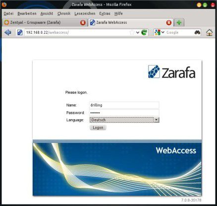 Auch Zentyal bietet mit wenig Aufwand die Möglichkeit zum Einsatz der Zarafa-Groupware.