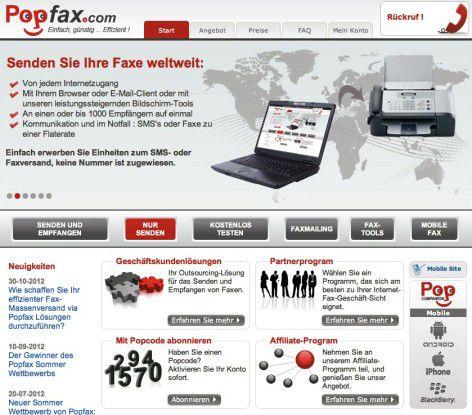 Online faxen mit Popfax.