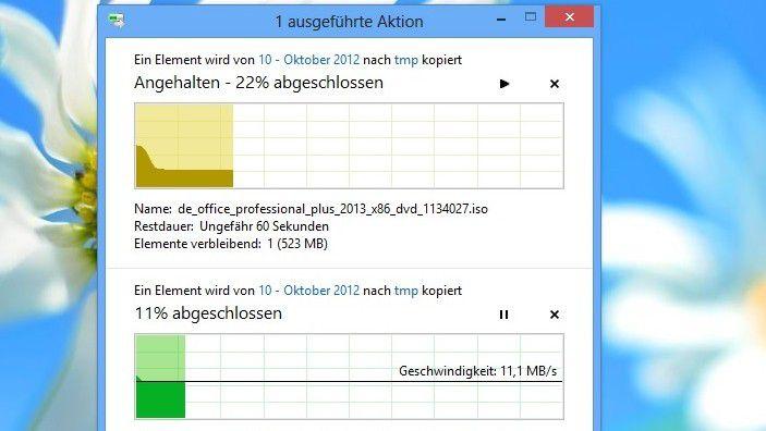 Windows 8 Explorer erlaubet dem Anwender gezieltere Eingriffe, während er beispielsweise mehrere Dateien kopiert.