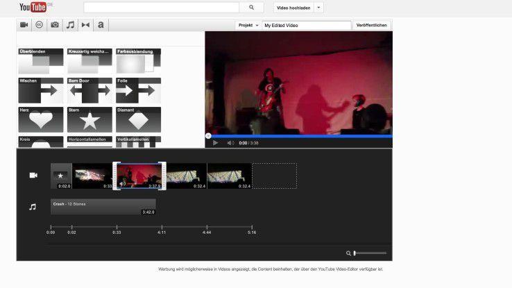 Wer mehrere Clips mit oder ohne Übergangs-Effekten versehen, schneiden sowie mit Standbildern mischen und vertonen möchte, nutzt den YouTube-Video-Editor.