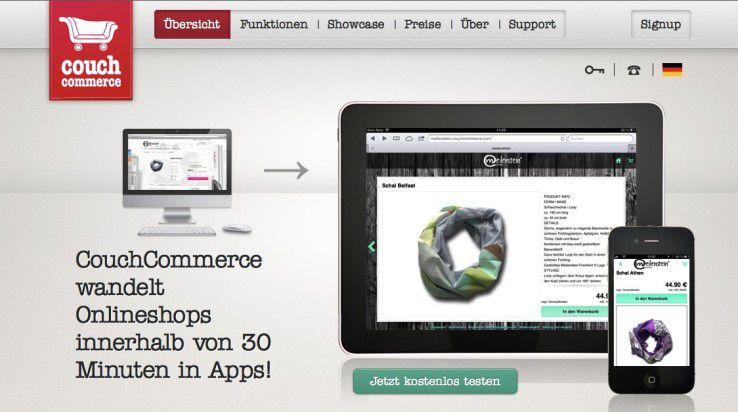 CouchCommerce verspricht, einen Online-Shop in wenigen Minuten in eine mobile App zu verwandeln.