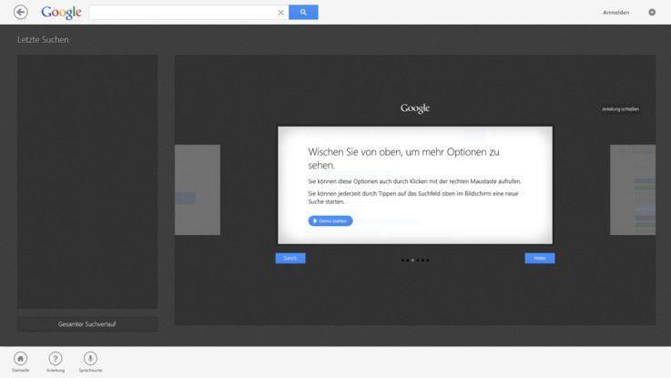 Die App für die Google-Suche erläutert die Bedienung auf dem Tablet ausführlich.
