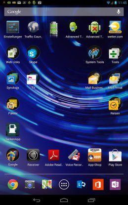 Mit einem kleinen Trick funktioniert es dennoch, wie diese Tablet zeigt (Icons rechts unten).