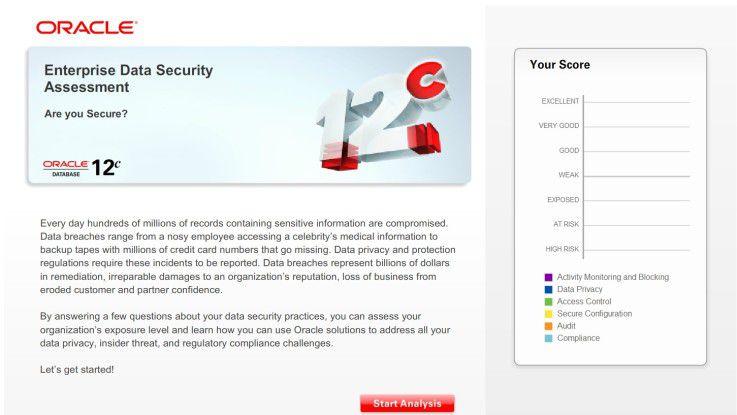 """Das Tool """"Oracle Enterprise Data Security Assessment"""" hilft bei einer ersten Bewertung der eigenen Enterprise IT Security und bietet als Auswertung ein Scoring zu verschiedenen Security-Bereichen."""