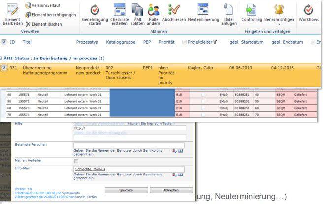 Mit den bekannten Editier-Funktionen der Sharepoint-Oberfläche können GEZE-Mitarbeiter Stati und Inhalte der Änderungsmitteilung bearbeiten.