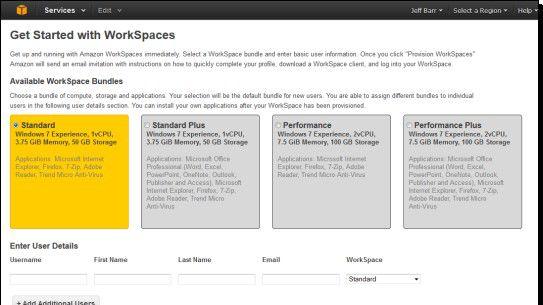 Amazon Workspaces stellt vier Basispakete in unterschiedlichen Leistungsstufen zur Auswahl