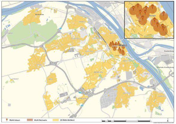 In Mainz testet Kabel Deutschland nicht nur die neue Geschwindigkeit, sondern auch 11 WLAN Hotspots.