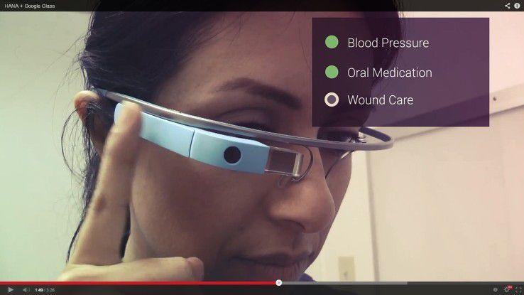 Google Glass ist nicht nur eine Spielerei für Endanwender, sondern kann auch im Business-Umfeld genutzt werden. Hier zum Beispiel mit SAP Hana im Krankenhaus.