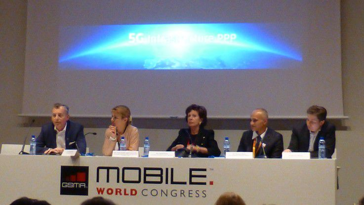 5G-Pressekonferenz auf dem Mobile World Congress.