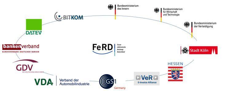 Das Forum elektronische Rechnung Deutschland wird von Wirtschaftsverbänden und Bundesministerien unterstützt.