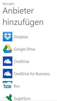 """Die meisten Nutzer werden """"ihren"""" Cloud-Speicher sicher in der Auflistung der Boxcryptor-App wiederfinden."""