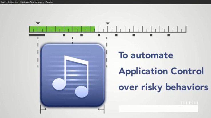 Klassische Lösungen für Mobile Device Management (MDM) erlauben es Unternehmen, Apps freizugeben (White List) oder zu sperren (Black List). Ein Mobile oder App Risk Management wie das von Appthority bewertet das App-Risiko automatisch und macht aktiv Vorschläge für App-Freigaben und -Blockaden. Unternehmen werden so bei der App-Bewertung entlastet.