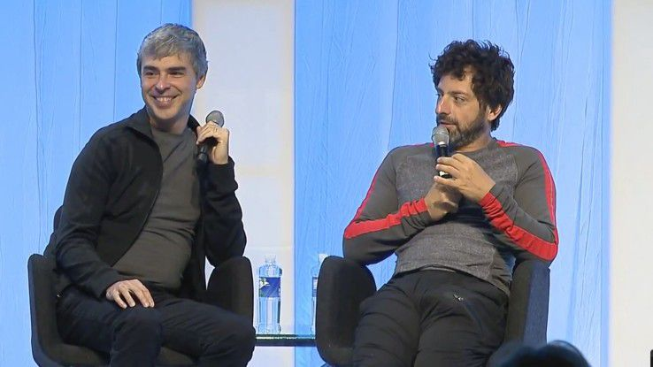 Serge Brin und Larry Page lernen sich in Standford kennen, sie gründen 1998 Google. Seit 4. April 2011 ist Page CEO von Google, ein Posten den er ab 2001 an Eric Schmidt abgegeben hatte.
