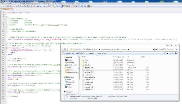 Die freie Wahl des Tools: Ein Benutzer kann AutoIt-Skripte mit jedem beliebigen Editor bearbeiten.