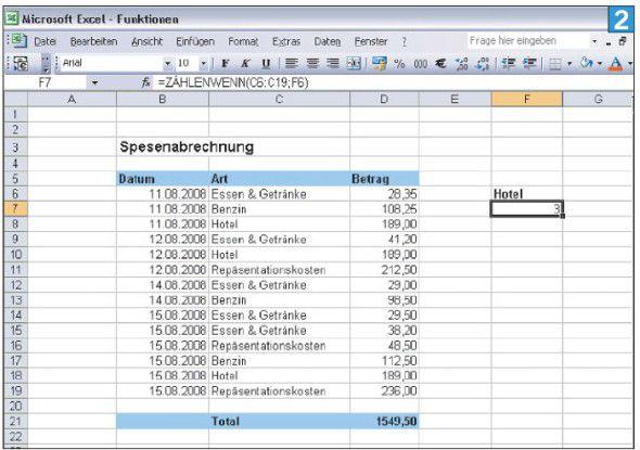 Excel-Funktion ZÄHLENWENN - Zehn Tipps: Excel für alle Lebenslagen ...