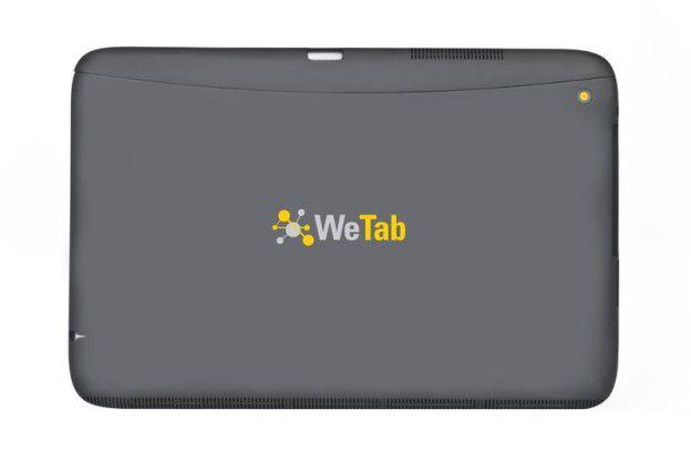 Die Rückseite des WeTab: Rechts oben der Einschaltknopf