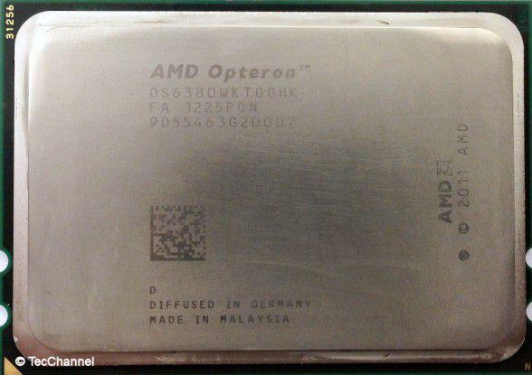 AMD Opteron 6380: Der neue 16-Core-Prozessor mit Piledriver-Architektur verfügt über insgesamt 32 MByte Cache. Platz nimmt die CPU weiterhin im Socket G34 der Vorgänger Opteron 6100 und 6200.