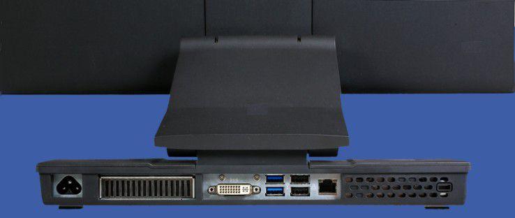 Kontakt bitte: Das System besitzt alle notwendigen Schnittstellen inklusive einer Kensington-Lock-Vorrichtung. Allerdings hat der Hersteller das Gerät statt mit einem Display-Port mit einem DVI-I-Port ausgestattet.