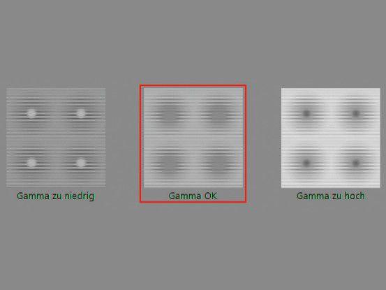 """Im Beispiel """"Gamma OK"""" zeigt der Kalibrierungsassistent die optimale Einstellung."""