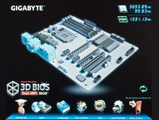 Bei neuen Mainboards mit Z77-Chipsatz spendiert der Hauptplatinenherstelle Gigabyte ein grafisches BIOS mit 3D-Ansicht der Komponenten.