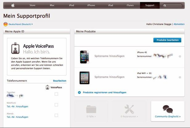 Jedes iPad hat eine eigene Seriennummer. Diese können Sie auch online abrufen.