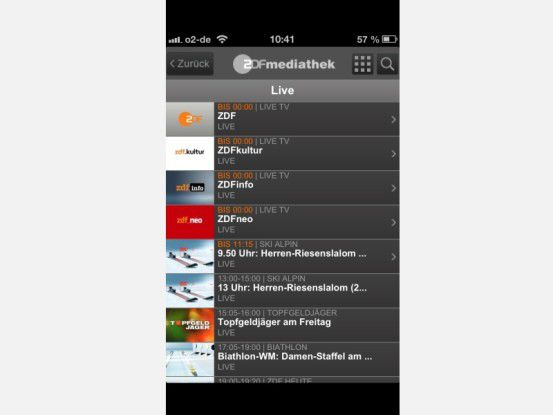 Komfortables Live-TV: Die App der ZDF-Mediathek liefert seit Mitte Februar 2013 das gesamte Programm inklusive das der Spartenkanäle parallel zur Ausstrahlung aus.