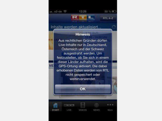 Manche Anwendungen wie die RTL-Fernseh-App verlangen GPS-Ortung.