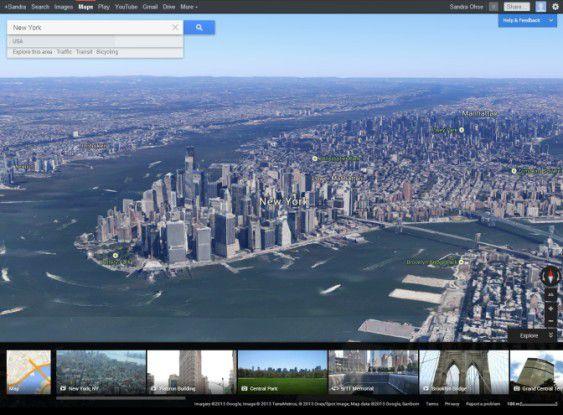 Städte wie New York oder München sind bereits in der 3D-Ansicht zu bewundern.