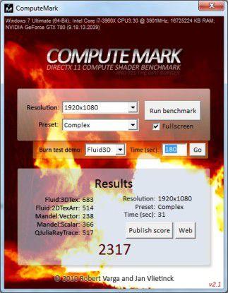 Ergebnis der Direct-Compute-Leistung.