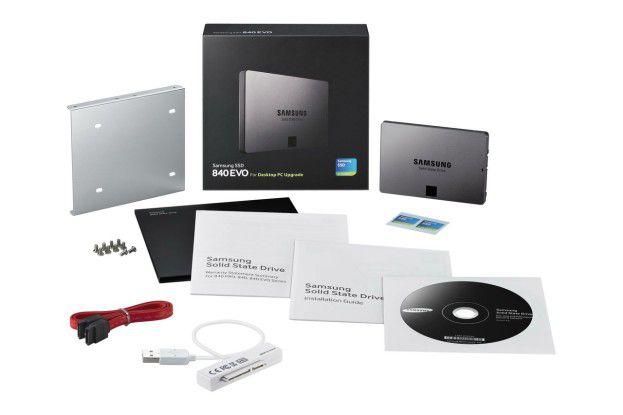 Lieferumfang der Samsung SSD 840 Evo 120GB Desktop Kit