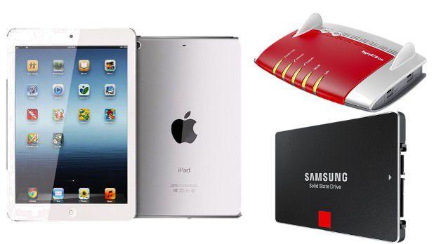 """Unter allen Teilnehmern an der Umfrage ??verlosen wir ein iPad mini Wi-Fi """"MD531"""" (7,9 Zoll, 16 GB), eine FRITZ!Box 7490 von AVM oder eine SSD 850 PRO 512 GB-Festplatte von Samsung."""