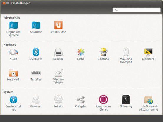 Ubuntu's minimalistische Systemeinstellungen sind eine Ansage: Der Nutzer soll sich um seine Inhalte und Software kümmern und nicht am System fummeln.